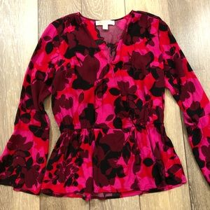 Michael kors Pink floral long sleeve dress shirt